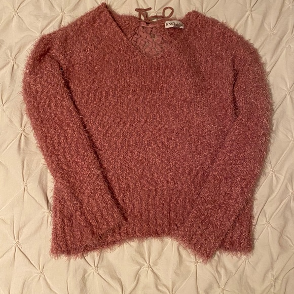 Pink super soft sweater with lace peep back
